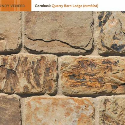 Photo of natural stone veneer masonry in Cornhusk Quarry Barn Ledge (tumbled)